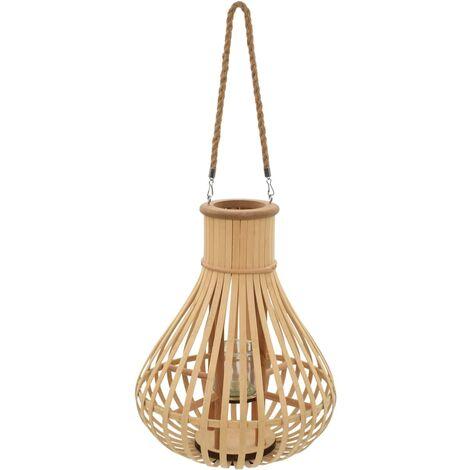 Hanging Candle Lantern Holder Bamboo Natural - Beige