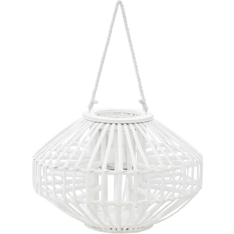 Hanging Candle Lantern Holder Wicker White - White