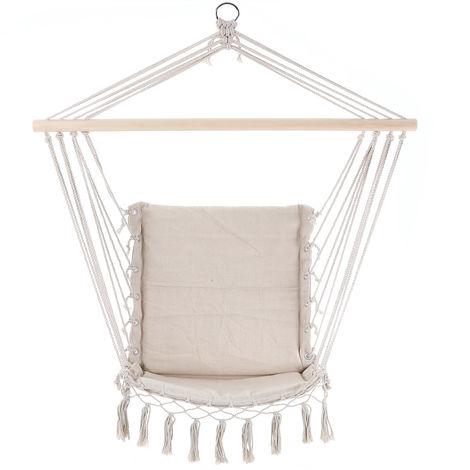 Hanging Chair Garden Outdoor 150kg DETEX Swing Hammock Rope Seat Cotton Lounger