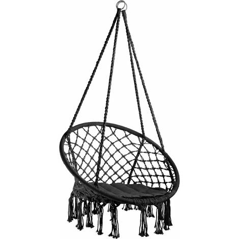 Hanging chair Jane - garden swing seat, hanging egg chair, garden swing chair - black - black