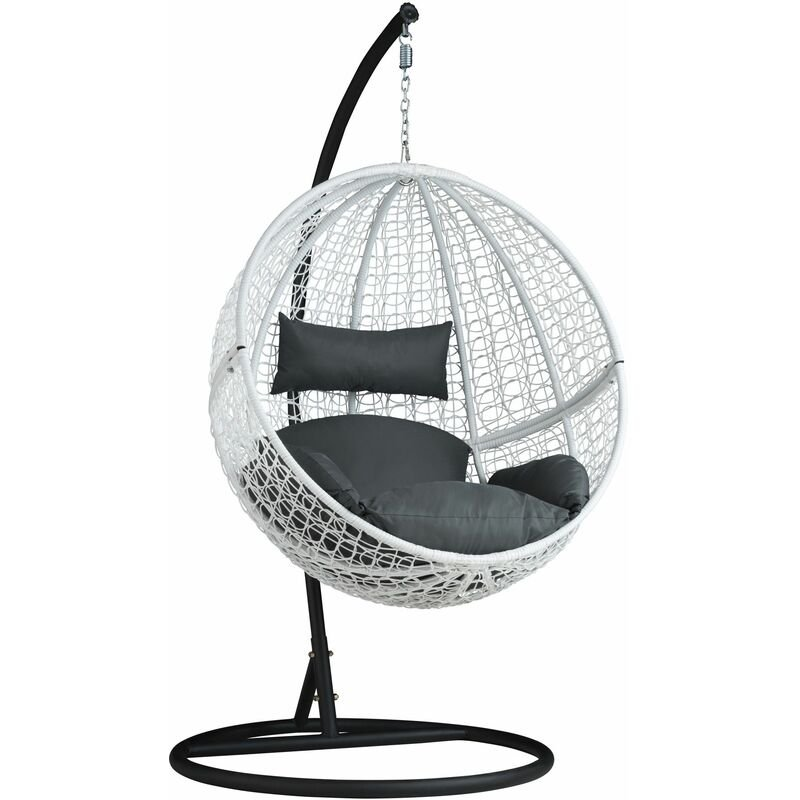 Hanging Chair With Round Frame Rattan Hanging Egg Chair