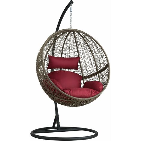 """main image of """"Hanging chair with round frame rattan - hanging egg chair, swing chair, hanging garden chair"""""""