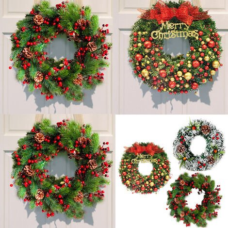 Hanging Christmas Wreath Decor For Xmas Home Party Door Wall Garland Ornament