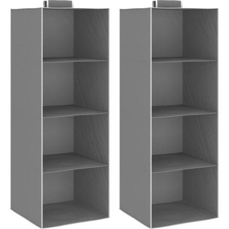 Hanging Closet Organisers 2 pcs wit4 Shelves Fabric