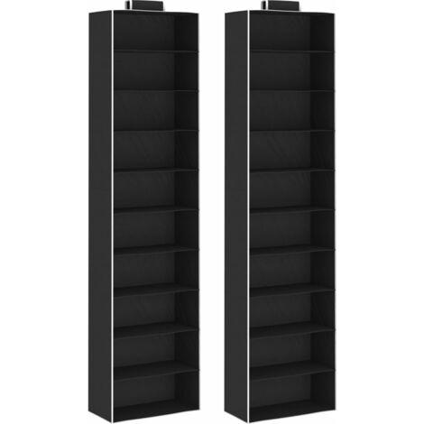 Hanging Closet Organisers 2 pcs with 10 Shelves Fabric - Black