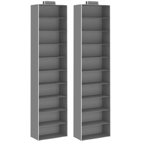 Hanging Closet Organisers 2 pcs with 10 Shelves Fabric - Grey