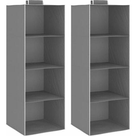 Hanging Closet Organisers 2 pcs with 4 Shelves Fabric