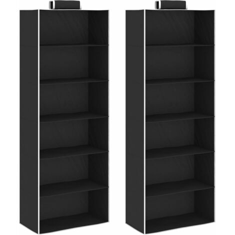 Hanging Closet Organisers 2 pcs with 6 Shelves Fabric