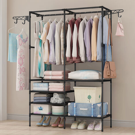 Hanging Clothes Rail Coat Rack Shoe Rack Storage Shelf Cabinet Organizer