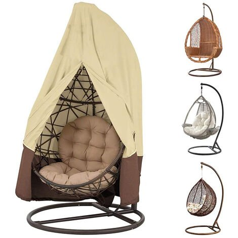 """main image of """"Hanging Egg Chair Cover, Durable Lightweight Waterproof Egg Swing Chair Cover with Zipper Fits Most Outdoor Single Swing Egg Chair Dust Protector, beige"""""""