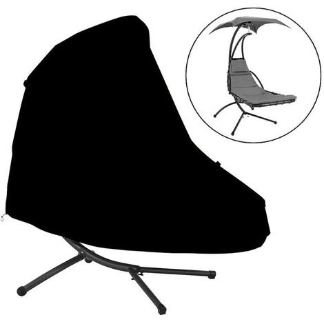 """main image of """"Hanging Egg Chair Cover Outdoor Swing Egg Chair Cover Waterproof Anti-dust with Zipper 210D Oxford Fabric Veranda Garden Lawn Chair Protector Furniture Accessory185*116*198cm, (Black)"""""""