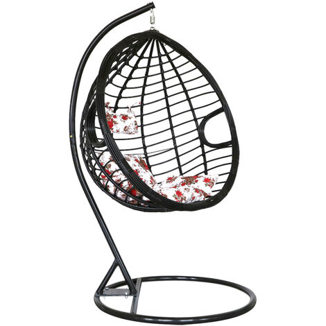 Hanging Egg Chair Rattan Outdoor Indoor Patio Garden Swing Chairs With Cushion - Brown