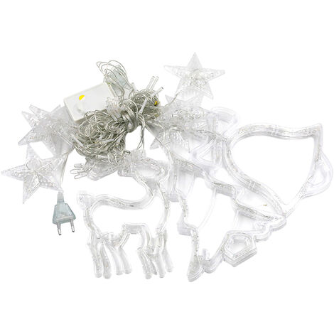 Hanging Fairy 138 LEDs String Lights Curtain Lamp with Elk Christmas Tree Bell Design