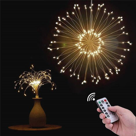 Hanging Firework LED Fairy Lights 8 Modes Remote Control Christmas Party Decor