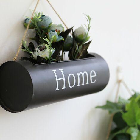 Hanging flower basket - Wall decoration - Black wrought iron basket LAVENTE