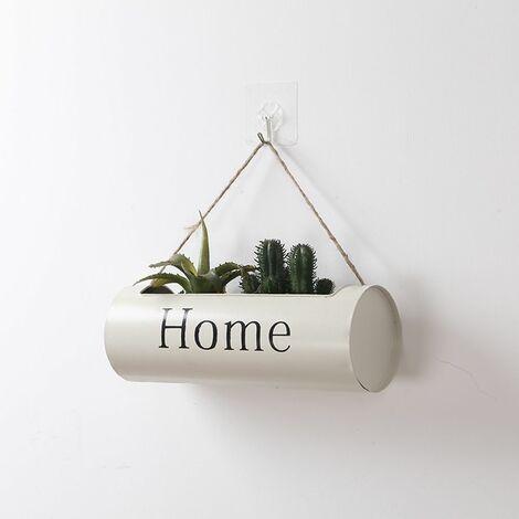 Hanging flower basket - Wall decoration - White wrought iron basket LAVENTE