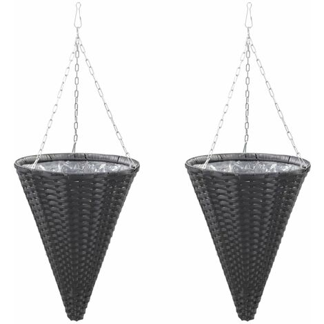 Hanging Flower Baskets 2 pcs Poly Rattan Black