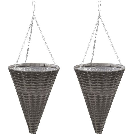 Hanging Flower Baskets 2 pcs Poly Rattan Grey