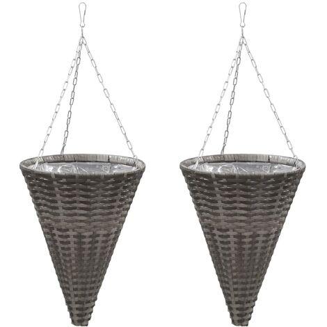 Hanging Flower Baskets 2 pcs Poly Rattan Grey - Grey