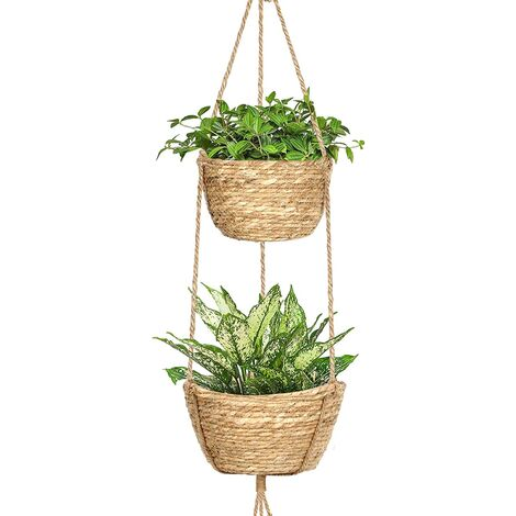 """main image of """"Hanging flower pot Indoor 2-layer seaweed hanging basket Hanging plant stand with adjustable jute rope decorative hanging pots Plant storage baskets Flower pots Bedroom decoration"""""""