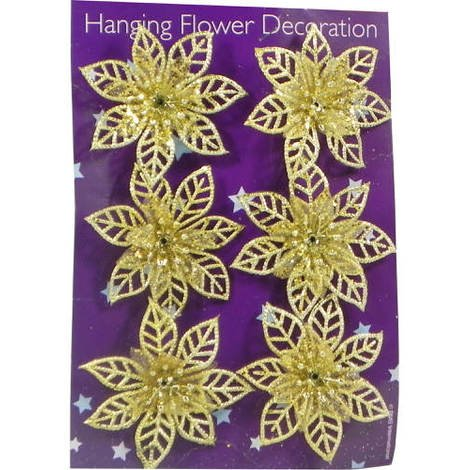 Hanging Flower Tree Decoration Gold Pack of 6