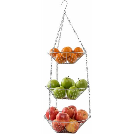 """main image of """"Hanging fruit basket / vegetable basket made of metal   Kitchen lights for more space on your worktop as a 3-piece set"""""""