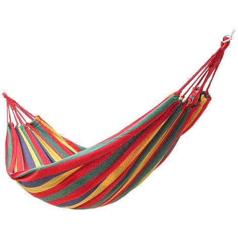 Hanging hammock 260x150cm with cotton rope outdoor camping bed canvas