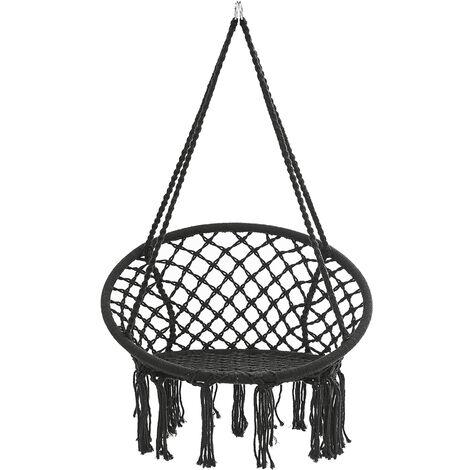 Hanging Hammock Chair Cotton Rope Macrame Hammocks 120*80cm Black