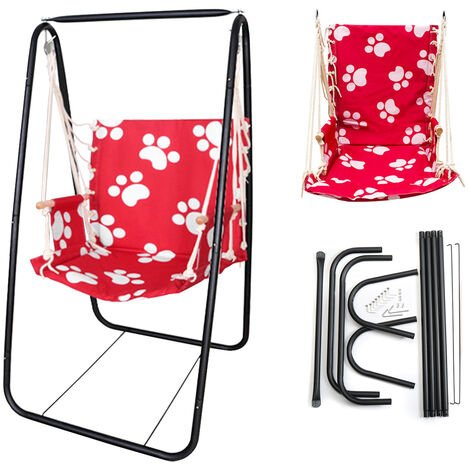 Hanging hammock chair with iron swing with cotton rope
