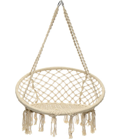 Hanging Hammock Rope Swing Chair Macrame Chair Hammock Seat Garden Indoor Outdoor Mohoo