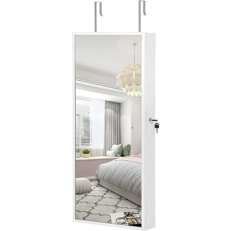 Hanging Jewellery Cabinet, Mirror Armoire with LED Interior Lighting, Jewellery Organiser with Full-Length Mirror, Wall-Mounted, Door-Hanging, Gift Idea, White JJC65WT