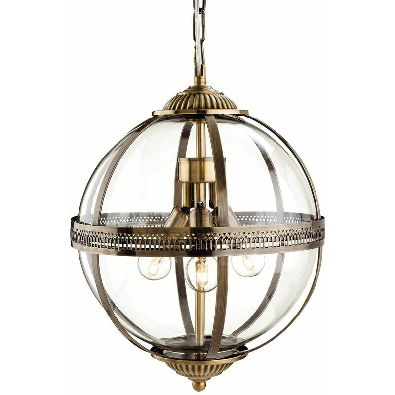 Image of Hanging lamp 3 bulbs Mayfair, Antique brass