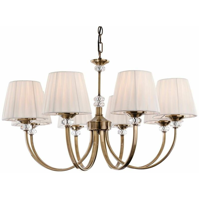 Image of Hanging lamp 8 bulbs Langham, antique brass, with lampshade