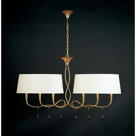 Hanging lamp Paola 2 Arm 6 Bulbs E14, gold painted with Cream shade & amber glass droplets