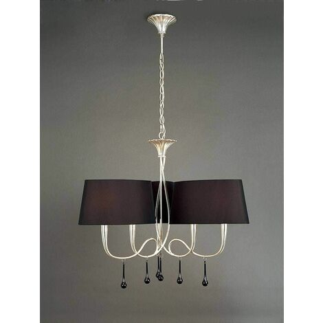 Hanging lamp Paola 3 Arm 6 Bulbs E14, silver painted with black lampshades & black glass droplets