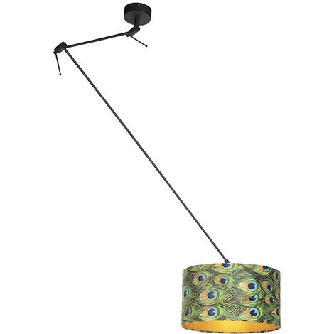 Hanging lamp with velor shade peacock with gold 35 cm - Blitz I black