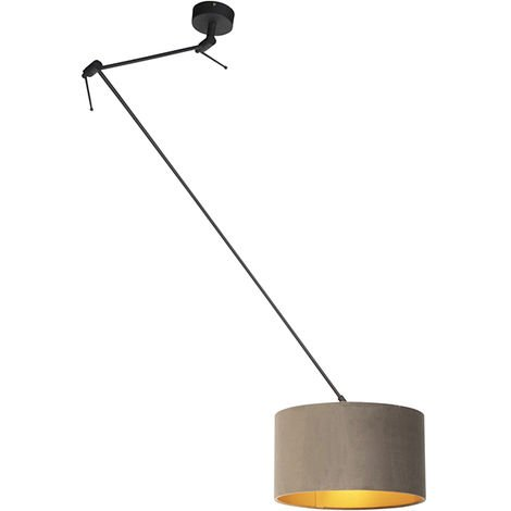 Hanging lamp with velvet shade taupe with gold 35 cm - Blitz I black