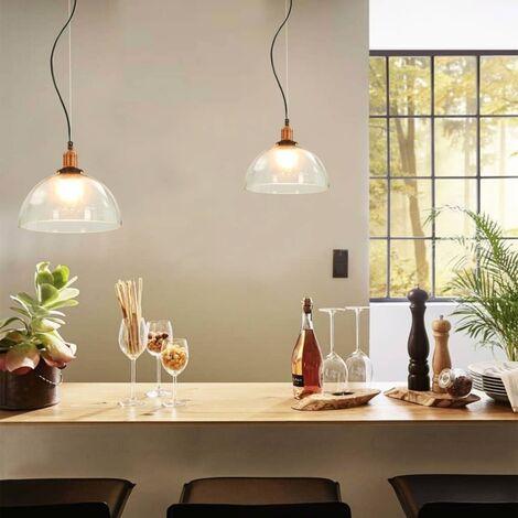 Hanging Lamps 2 pcs Transparent Round 30 cm E27