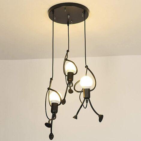 Hanging light fixture iron lamp creative modern cartoon design pendant for kids bedroom bedside 3 bulbs