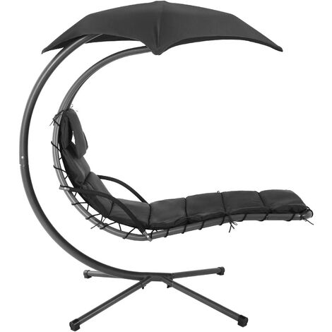 Hanging Lounger with Stand, Sunshade, Hanging Lounge Chair with 5 cm Thick Cushion, Swing Hammock Chair, 150 kg Load Capacity, for Terrace, Balcony, Garden, Beige/Black