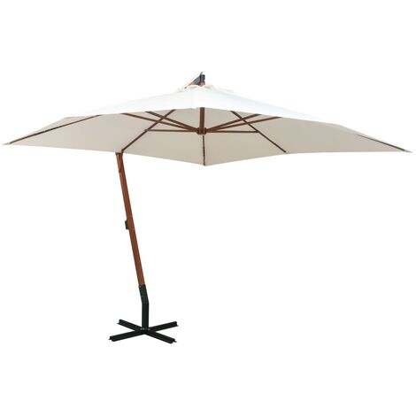 Hanging Parasol 300x300 cm Wooden Pole White
