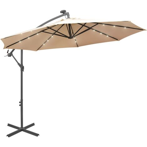 Hanging Parasol with LED Lighting 300 cm Sand Metal Pole