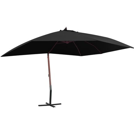 Hanging Parasol with Wooden Pole 400x300 cm Black