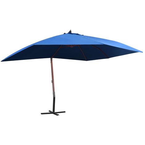 Hanging Parasol with Wooden Pole 400x300 cm Blue