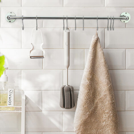 Hanging Rail Kitchen Wall Mounted Utensils Storage Rack Towels Hanger with Hooks - 60CM