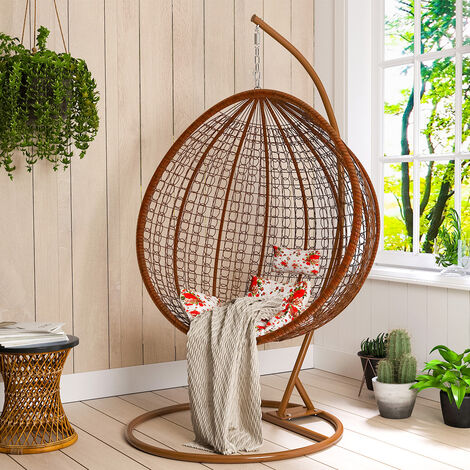 Hanging Rattan Swing Chair With Cushion Outdoor/Indoor Garden Patio Furniture Stand - Black