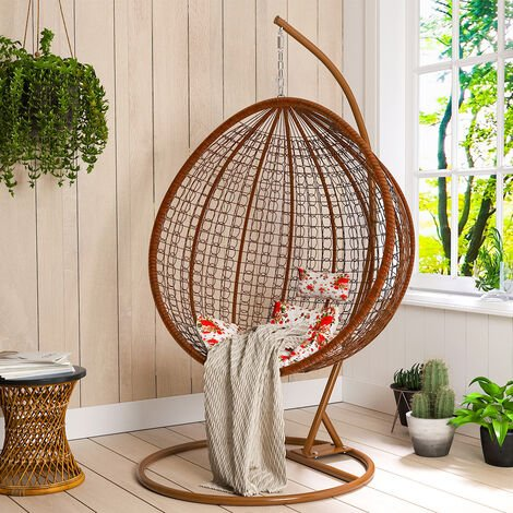 Hanging Rattan Swing Chair With Cushion Outdoor/Indoor Garden Patio Furniture Stand - White