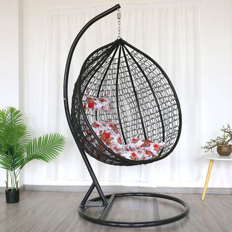 Hanging Rattan Swing Patio Garden Chair Black Weave Egg w/ Cushion In Outdoor