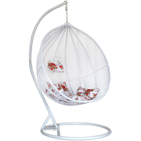 Hanging Rattan Swing Patio Garden Chair Brown Weave Egg w/ Cushion In Outdoor