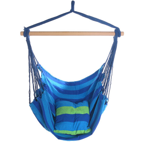 Hanging Rope Chair Seat Swing Hammock with Pillow 100x130cm blue